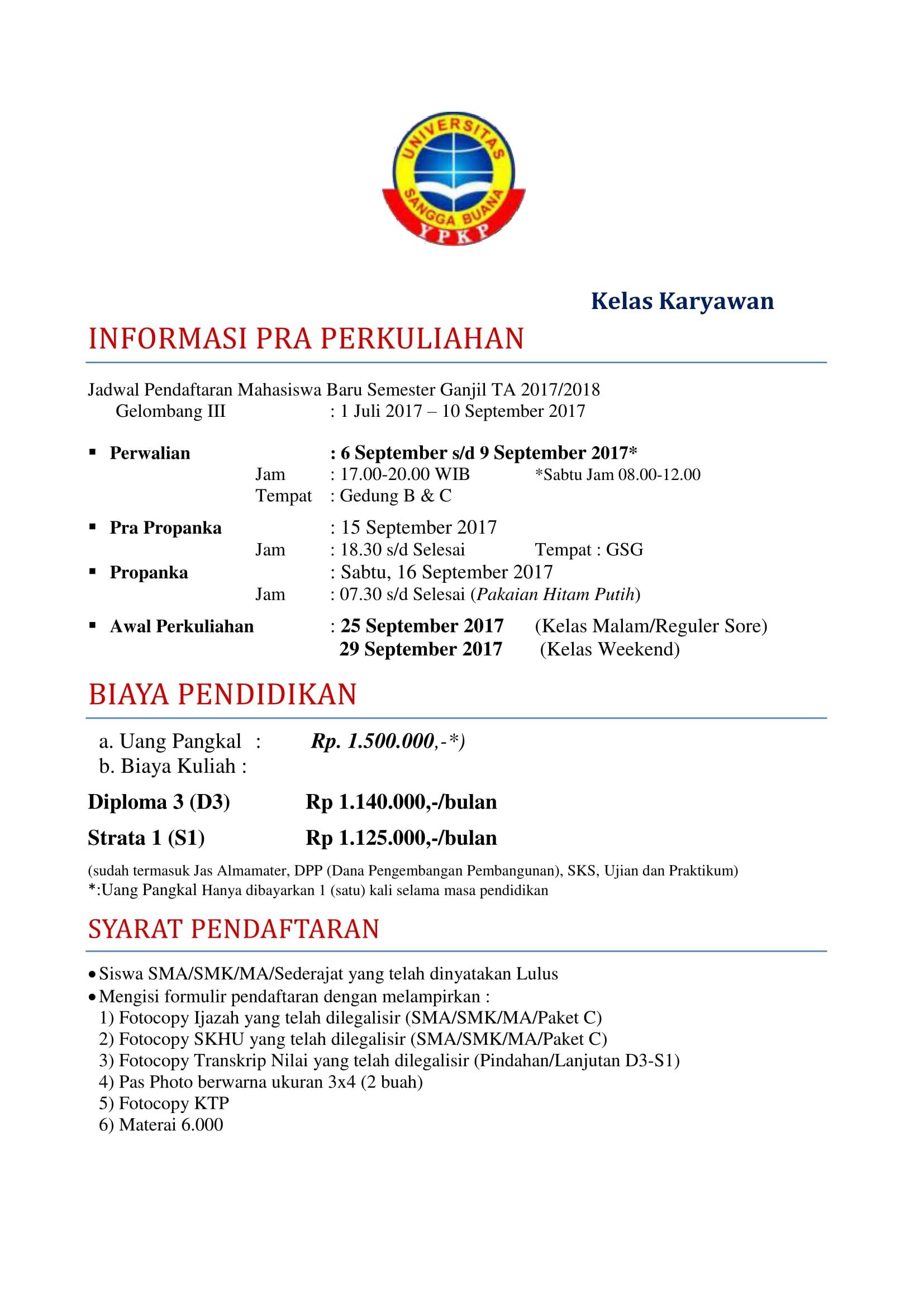 info pra Kuliah Karyawan 2017-1